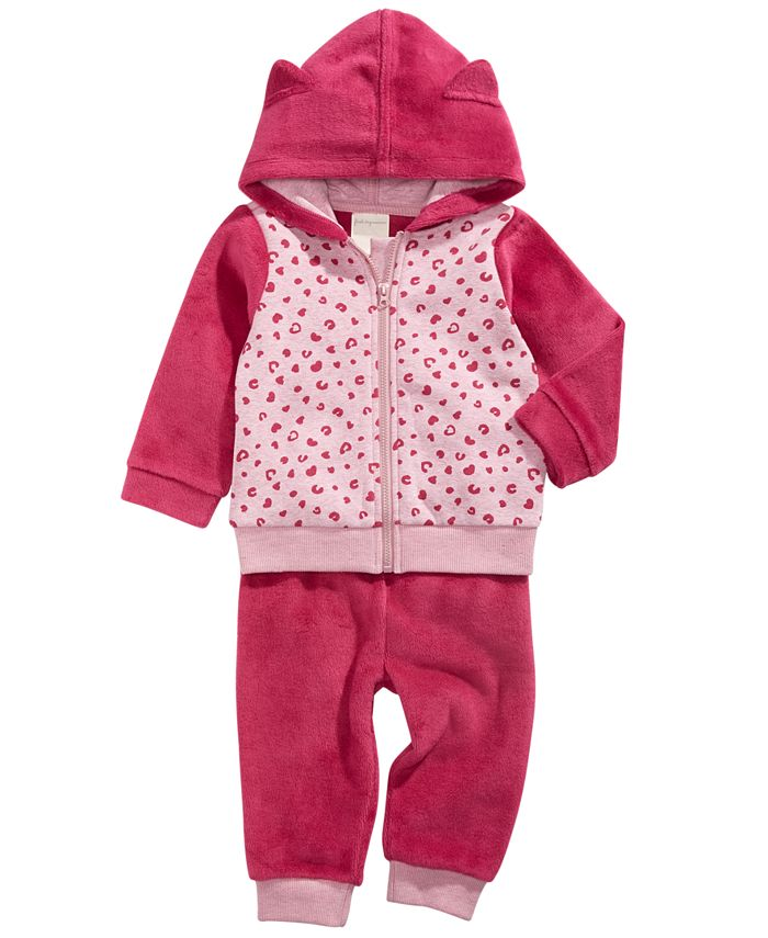 First Impressions - Baby Girls 2-Pc. Leopard-Print Minky Hoodie & Pants Set