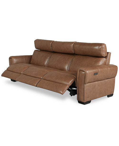 Furniture Josephia 3-Pc. Leather Sectional with 3 Power Recliners, Created For Macy's