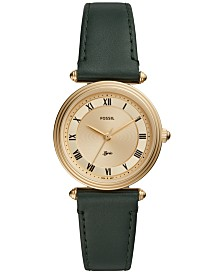 Fossil Women's Lyric Green Leather Strap Watch 32mm