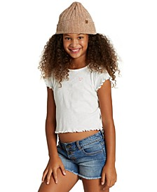 Big Girls Cotton Ribbed Ruffle-Hem T-Shirt