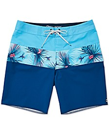 Toddler & Little Boys Colorblocked Tropical Swim Trunks