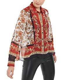 INC Petite Scarf Print Blouse, Created For Macy's