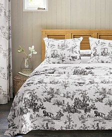Greenland Home Fashions Classic Toile Black Bedspread Set, 3-Piece Queen