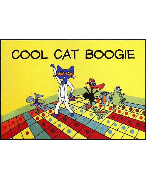 """Pete the Cat Elementary Cool Cat Boogie Yellow 35.4"""" x 4'3"""" Area Rug"""