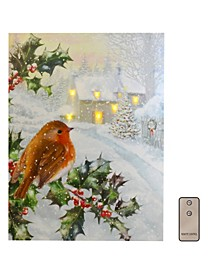 Lumabase Bird and Holly Tree Battery Operated Lighted LED Wall Art