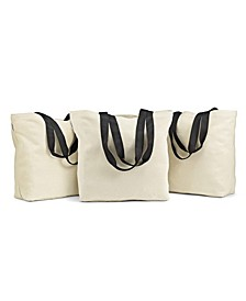 Set of 3 Large Canvas Grocery Totes