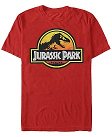 Jurassic Park Men's Classic Logo Outlined Short Sleeve T-Shirt