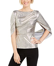 Metallic Capelet Top