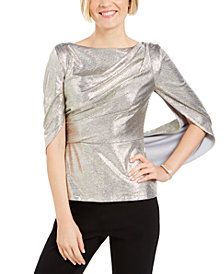 Adrianna Papell Metallic Capelet Top
