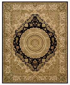 "Wool and Silk 2000 2233 Black 7'9"" x 9'9"" Area Rug"