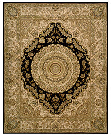 "Nourison Area Rug, Wool & Silk 2000 2233 Black 7'9"" x 9'9"""