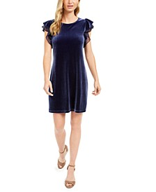Velvet Ruffle-Sleeve Dress, Created For Macy's