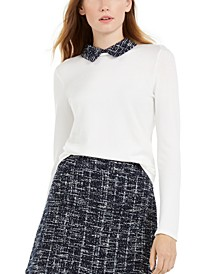 Long-Sleeve Tweed-Collar Sweater, Created For Macy's
