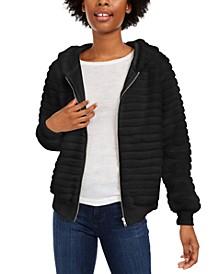 Juniors' Faux-Fur Hoodie Jacket