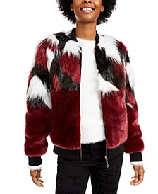 Juniors' Mixed Faux-Fur Jacket