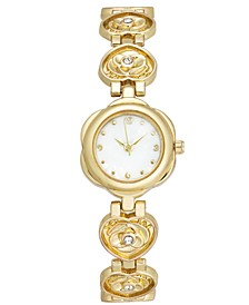 Women's Gold-Tone Pavé Rose Heart-Link Bracelet Watch 20mm, Created For Macy's