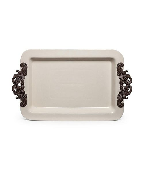 The GG Collection 23.75-Inch Long Cream Ceramic Tray with Acanthus Leaf Styled Metal Handles