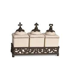 The GG Collection Acanthus Leaf Hope, Love, and Faith Ceramic Jars with Ornate Brown Metal Tray