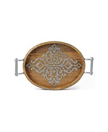 Medium Long Wood and Metal Heritage Collection Oval Tray