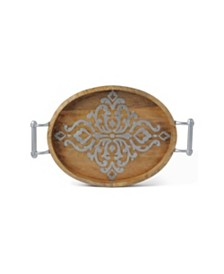 The GG Collection Medium Long Wood and Metal Heritage Collection Oval Tray