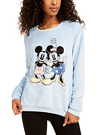 Juniors' Mickey & Minnie Plush Sweatshirt