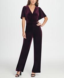 DKNY Velvet Flutter Sleeve Jumpsuit