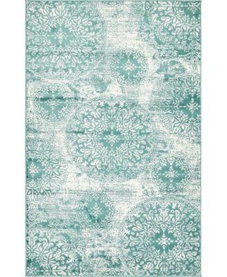 Basha Bas7 Turquoise 5' x 8' Area Rug