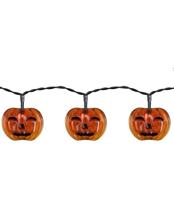 Northlight Set of 10 Battery Operated Jack-O-Lantern LED Halloween Lights