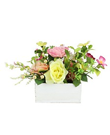Northlight Artificial Spring Floral and Foliage Arrangement in Wooden Planter