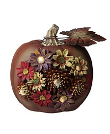 LED Lighted Solar Powered Floral Thanksgiving Table Top Pumpkin