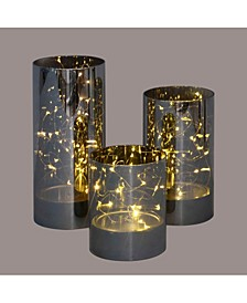 Set of 3 Decorative Galaxy Night LED Lighted Glass Jar Decorations