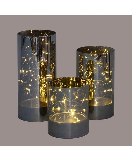 Northlight Set of 3 Decorative Galaxy Night LED Lighted Glass Jar Decorations
