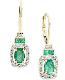 14k Gold Earrings, Emerald (1-1/6 ct. t.w.) and Diamond (1/5 ct. t.w.) Rectangle Drop Earrings