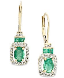 Emerald (1-1/6 ct. t.w.) and Diamond (1/5 ct. t.w.) Rectangle Drop Earrings in 14k Gold (Also Available in Sapphire and Certified Ruby)