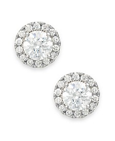 Diamond Round Halo Stud Earrings in 14k White Gold (1/2 ct. t.w.)