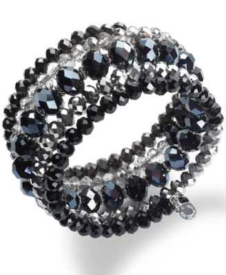Image of INC International Concepts Silver-Tone Jet and Metallic Beaded Coil Bracelet, Only at Macy's