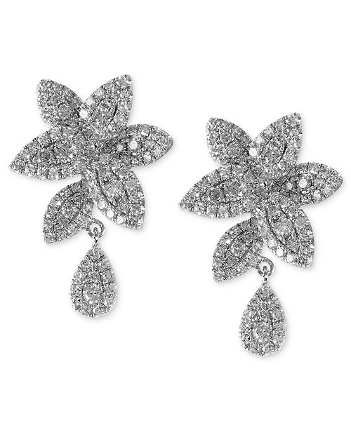 EFFY Collection Bouquet by EFFY Pave Diamond Leaf Earrings in 14k White Gold (1 ct. t.w.)