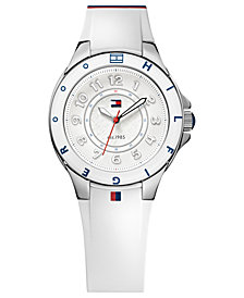 Tommy Hilfiger Watch, Women's White Silicone Strap 34mm 1781271
