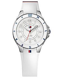Tommy Hilfiger Watch, Women's White Silicone Strap 34mm 1781271