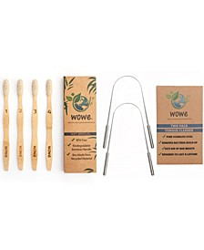 Lifestyle Bamboo Toothbrushes and Stainless Steel Tongue Cleaner Set