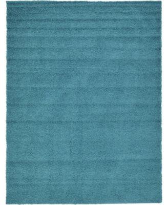 Exact Shag Exs1 Deep Aqua Blue 10' x 13' Area Rug