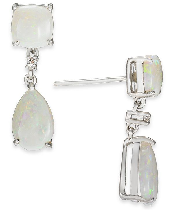 Macy's Opal (2-5/8 ct. t.w.) & Diamond Accent Drop Earrings in Sterling Silver