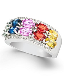 Multi-Sapphire (3-7/8 ct. t.w.) & Diamond (1/4 ct. t.w.) Statement Ring in 14k White Gold