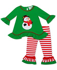 Rare Editions Baby Girls 2-Pc. Snowman Top & Striped Leggings Set