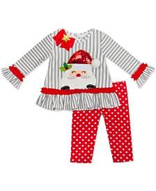 Rare Editions Baby Girls 2-Pc. Santa Top & Printed Leggings Set