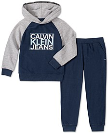 Toddler Boys 2-Pc. Colorblocked Logo Hoodie & Fleece Sweatpants Set
