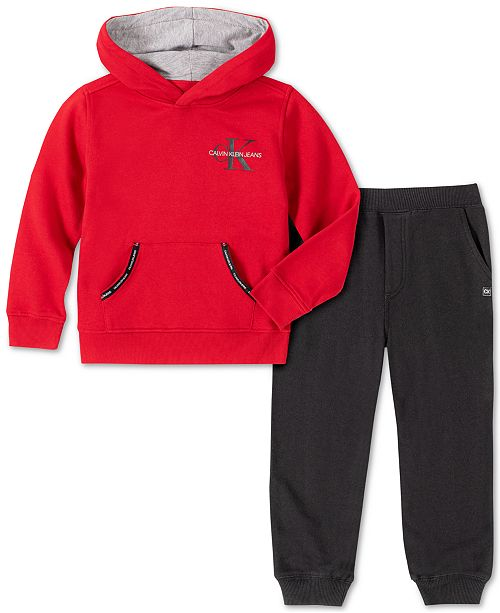 Calvin Klein Toddler Boys 2-Pc. Fleece Logo Hoodie & Sweatpants Set