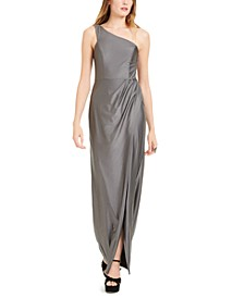 Juniors' One-Shoulder Gown
