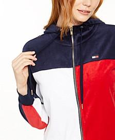 Velour Colorblocked Zip-Up Jacket