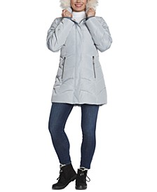 Sara Faux-Fur Trim Hooded Puffer Coat